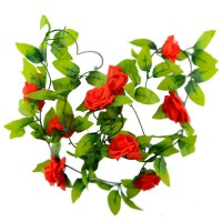 Mastone Artificial Rose Silk Flower Green Leaf Vine Garland Home Wall Party Decor Wedding Decal (Red)
