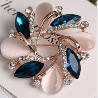 Hot Sale Women Elegant Noble High-grade Opal Zircon Crystal Women Bauhinia Jewelry Brooch 18K Gold Plated Alloy Pin Accessories For Attendance