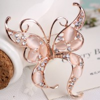 Lady Elegant Charming High-grade Opal and Rhinestone Crystal Butterfly Brooches Pins 18K Gold Plated Alloy Jewelry Brooches Accessories for Prom
