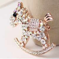 Lady Elegant Charming High-grade Rhinestone Crystal Cockhorse Brooches Pins 18K Gold Plated Alloy Jewelry Brooches Accessories for Prom