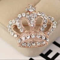 Lady Elegant Charming High-grade Rhinestone Crystal Crown Brooches Pins 18K Gold Plated Alloy Jewelry Brooches Accessories for Prom