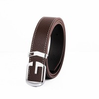 2017 Smooth Leather Belt Buckle New Men's and Women's Leather Belt All-match Letter Belt H636