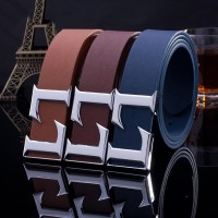 2017 Smooth Leather Belt Buckle New Men's and Women's Leather Belt All-match Letter Belt A293