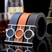 2017 Smooth Leather Belt Buckle New Men's and Women's Leather Belt All-match Letter Belt H656