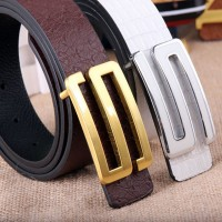 2017 Smooth Leather Belt Buckle New Men's and Women's Leather Belt All-match Letter Belt H145