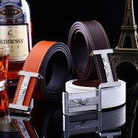2017 Smooth Leather Belt Buckle New Men's and Women's Leather Belt All-match Letter Belt H697