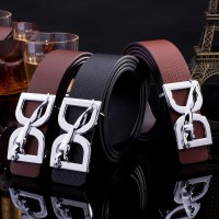 2017 Smooth Leather Belt Buckle New Men's and Women's Leather Belt All-match Letter Belt H132
