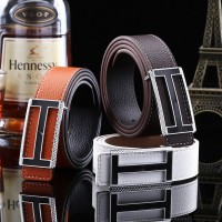 2017 Smooth Leather Belt Buckle New Men's and Women's Leather Belt All-match Letter Belt H671