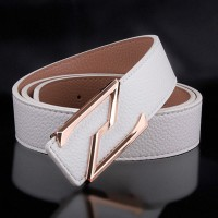2017 Smooth Leather Belt Buckle New Men's and Women's Leather Belt All-match Letter Belt H630