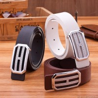 2017 Smooth Leather Belt Buckle New Men's and Women's Leather Belt All-match Letter Belt A286