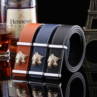 2017 Smooth Leather Belt Buckle New Men's and Women's Leather Belt All-match Letter Belt H679