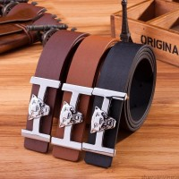 2017 Smooth Leather Belt Buckle New Men's and Women's Leather Belt All-match Letter Belt A284