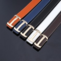 2017 Smooth Leather Belt Buckle New Men's and Women's Leather Belt All-match Letter Belt H677