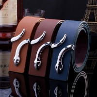 2017 Smooth Leather Belt Buckle New Men's and Women's Leather Belt All-match Letter Belt A280