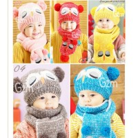 Winter new male and female children wool hat baby cute cartoon owl warm hat scarf two sets