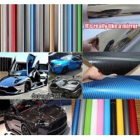 Free shipping 3D Carbon Fibre Vinyl Sheet Wrap Sticker Film Paper Decal car motorcycle sticker 1270mm*200mm New