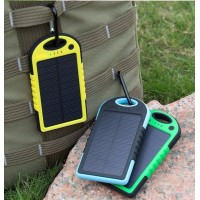 Waterproof Solar Sharger 5000mAh Dual-USB Power Bank Drop Resistance Portable Charger Travel External Battery for Smartphone Tablet PC
