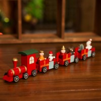 Wooden Christmas Train Railway Wood Locomotive Chrismas Decoration