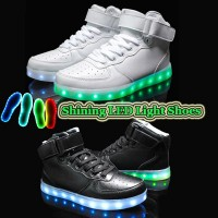 Latest Fashion USB Charge LED lighted High Top Leather Shoes Sneakers / Simulation 7 Colors Noctilucence Shoes / Colorful Nightclub Hip-hop Outdoor Sports shoes / Rainbow Fluorescence Light Casual Shoes