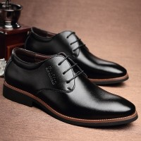 Men's business casual leather shoes men dress shoes pointed lace young British fashion breathable men's shoes Fall