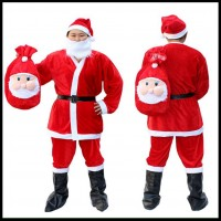 Christmas Must-Have Christmas Clothes Santa Clothes Festivals Christmas Velvet Clothes 5-Piece and 7-Piece Set