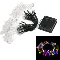 LED Solar Water Droplets Light String 6.5 Meters 30LED Water Droplets Light String Courtyard Holiday Wedding Light String - Color