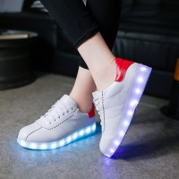 Women LED Light USB Charging Colorful Shoes Korean Version of Subsection Luminous Fluorescent Plate Shoes Women Shoes