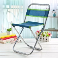 Large Metal Backrest Stool Outdoor Fishing Stool Portable Folding Stool