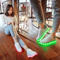 Fashion Spring and Summer Shoes Colorful  USB Charging LED Luminous Fluorescent  Women Shoes Breathable Casual Shoes Glow