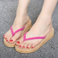 2016 Summer New Fashion Casual Flip-flops Woman Wood Surface Wear Non-slip TPR Bottom Round Cloth Belt Fashion Sandals Slippers