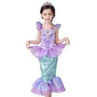 Girls Kids Dress Cosplay Bling Mermaid Princess Pageant Party Tail Maxi Dress Cosplay Costume