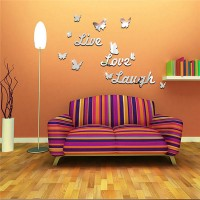 Butterfly Alphabetical Mirror Wall Stickers Living Room Background Wall Stickers - Silver