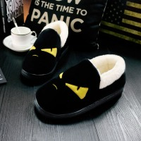 Autumn and winter indoor couple cotton slippers cartoon warm cotton shoes men and women general non - slip home villi slippers