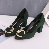 2017 spring new high heeled with shallow mouth pointed shoes retro suede shoes