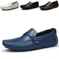 Spring and Autumn Men's Fashion Casual Leather Loafers Driving Shoes Peas Shoes Lazy British Men Wear Big Yards 38-47