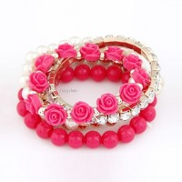 Mix Flower Beads Stretch Bracelet Temperament Alloy Resin Rhinestone Bangle 6 Colors