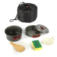 Cooking Pan Bowl Pot Set Picnic Set Aluminum alloy Camping Cookware Tableware For Outdoor Camping Hiking Free Shipping