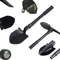Multi-function Military Portable Folding Camping Shovel Survival Spade Trowel Dibble Pick Emergency Multitool with compass Free Shipping