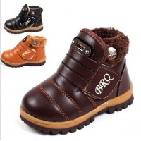 New 2014 Winter Kids Winter Snow Boots Fashion Rivet Boys Girls Shoes Soft PU Leather Children Sneakers