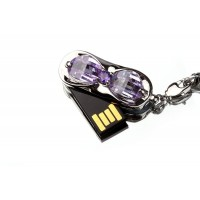 USB 3.0 Memory Stick Foldable U Disk 8GB Capacity Fashion Purple Crystal Design