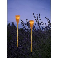Set of 2 solar bamboo torch