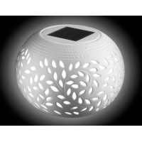 white solar ceramic table lamp with 7 color changing solar