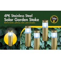 Yinarts 4PK superbright stainless steel solar bollard light