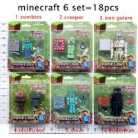 17pcs/1lot 2015 minecraft steve sword enderman zobies model toys minecraft 5-7cm micro world action figure free shipping