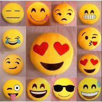Christmas gift 32cm Bed Home Office Car Emoji Smiley Smile Emoticon Yellow Round Cushion Pillow Stuffed Plush Doll Soft Toy