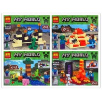 New Hot Sell Minecraft 10188 10189 10190 10191 four types  Micro World - The End Enderman Action Figure Bricks Toys Minifigures Building Blocks For kids