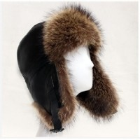 2015 New Design Super Quality Winter Geninue Sheepskin and Raccoon Fur Ha