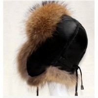 Super Quality Winter Geninue Sheepskin and Raccoon Fur Hat