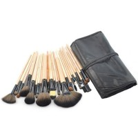 Professional 24 pcs Makeup Brushes Set Charming Pink/Black Cosmetic Eyeshadow Brushes with leather pouch