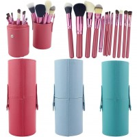 12pcs/set Professional Makeup Brush Set Cosmetic Brush Kit Makeup Tool with Cup Holder Case 5Colors For Choosing